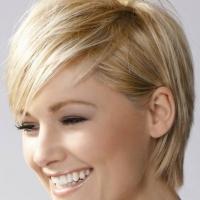 Короткая стрижка с челкой и цвет светлый блонд - солнечный образ.